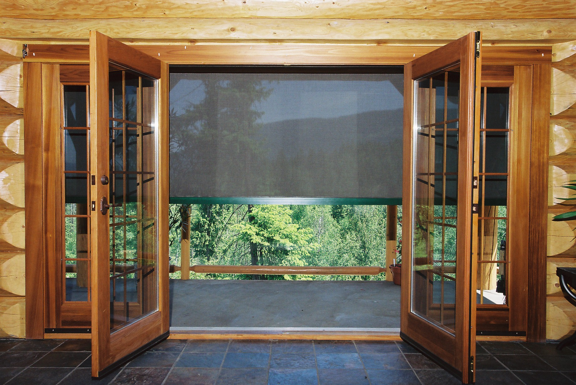 Roll down shades roll down screen motorized retractable for Roll away screens for patio doors