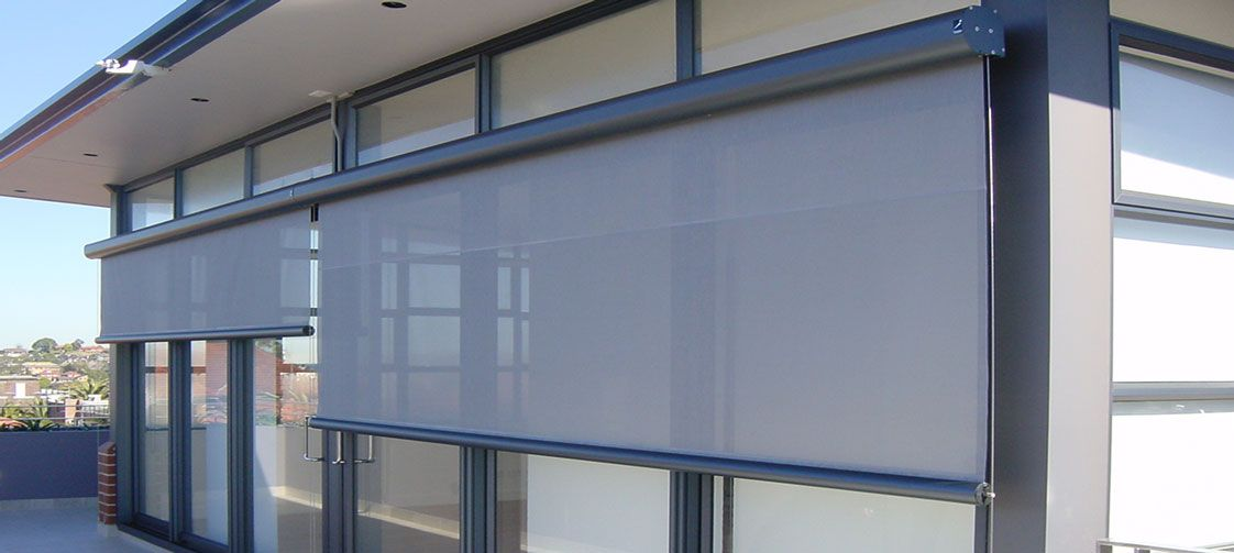 Exterior Roller shades for bay windows