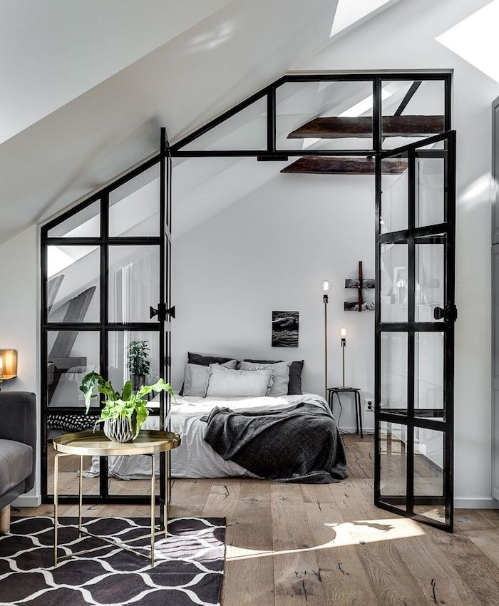 Art idea industrial capony to divide a bedroom and the living room