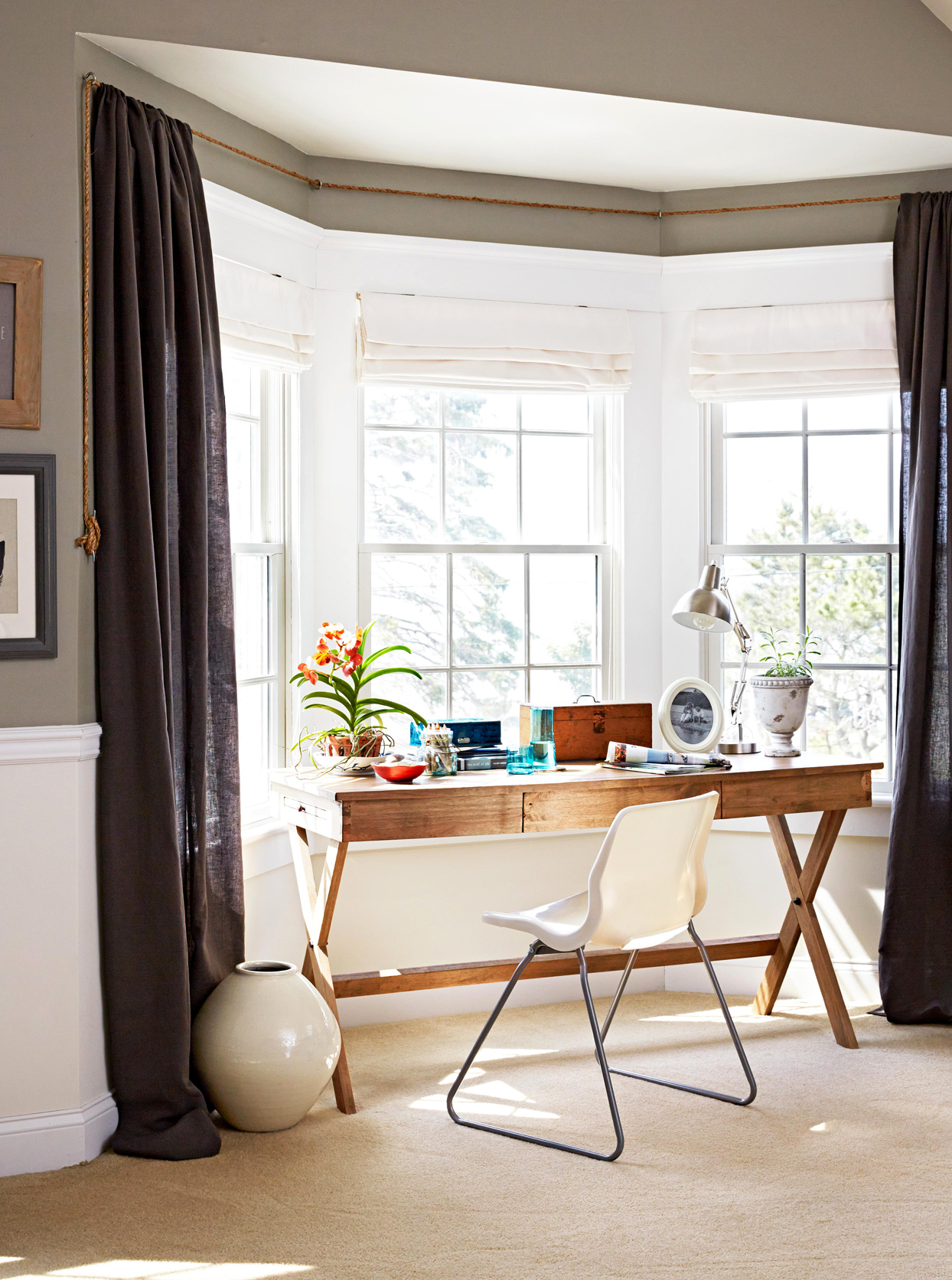 Traditional curtains for bay window