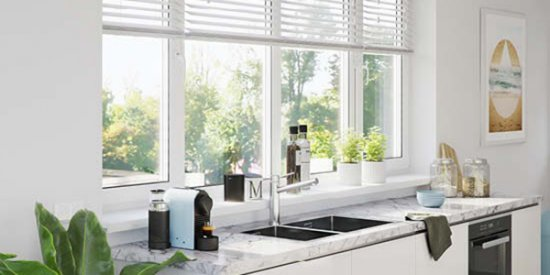 Real wood blinds for kitchen
