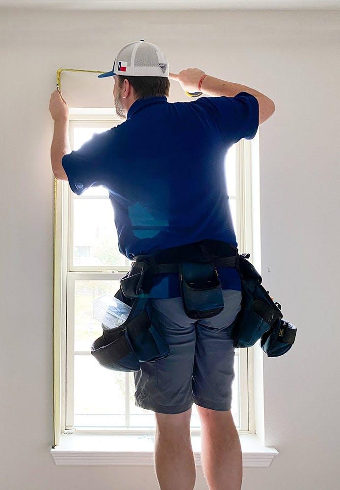 Wholesale Blind Factory team measure outside-mount window blinds